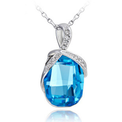 Swarovski Element Aquamarine Crystal Pendant on Cable Chain 18 Inches - $147.00 US