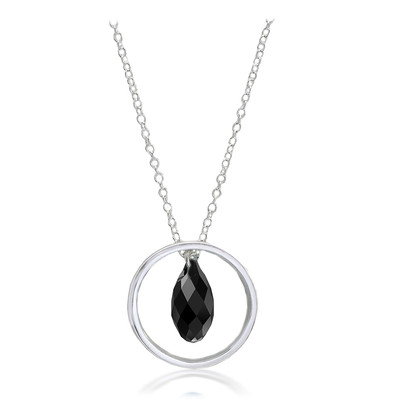 Swarovski® Embellished  Black Briolette Crystal Ring Pendant Sterling Silver Plated