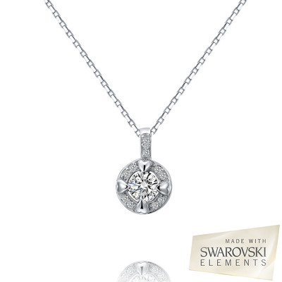 Swarovski Elements Round Cut Crystal Little Hearts Pendant Sterling Silver