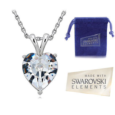 Swarovski Elements Heart Shaped Crystal Pendant 18 Inches