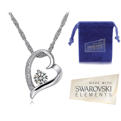 Swarovski Elements Crystal Heart Shape Pendant 18 Inches