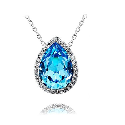 Swarovski Elements Pear Shape Aquamarine Pendant 18 Inches
