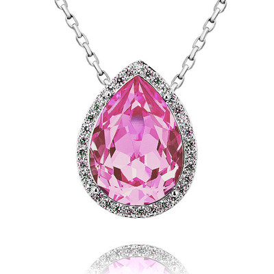 Swarovski Elements Pear Shape Rose Pendant 18 Inches
