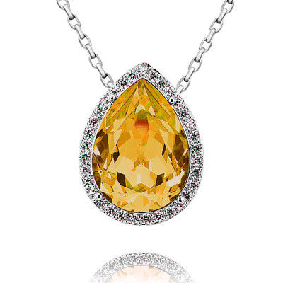 Swarovski Elements Pear Shape Yellow Topaz Pendant 18 Inches