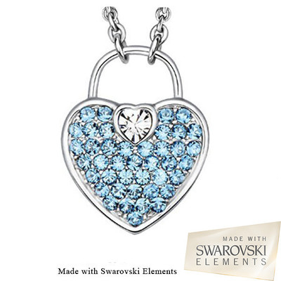 Swarovski Elements Crystal Aquamarine Heart Lock Pendant 18 Inches