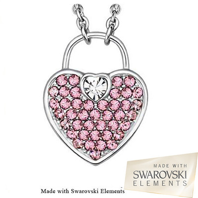 Swarovski Elements Pink Crystal Heart Lock Pendant 18 Inches