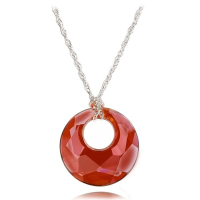 "Swarovski Elements "" Victory "" Red Crystal Pendant Sterling Silver 18 Inches"