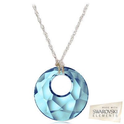 "Swarovski Elements "" Victory "" Aquamarine Crystal Pendant Sterling Silver 18 Inches"
