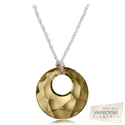 "Swarovski Elements Crystal "" Victory "" Golden Shadow Pendant Sterling Silver 18 Inches"