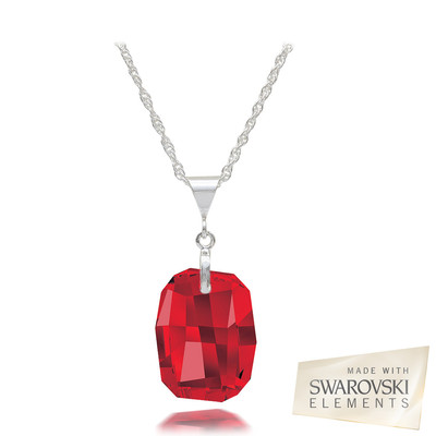 Swarovski Elements Crystal Ruby Red Sterling Silver Pendant