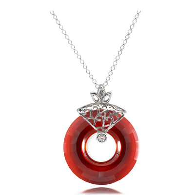 Swarovski Elements Circle Cut Red Magma Crystal Sterling Silver Pendant