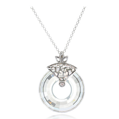Swarovski Elements Circle Cut Crystal Sterling Silver Pendant