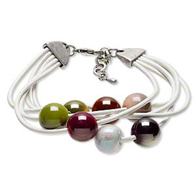 LEATHER BRACELET WITH MULTI-COLOURED BEADS