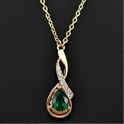 18K Gold Plated Green Austrian Crystal Pendant