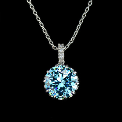 18K Gold Plated 9mm 2.75 Carat Blue Cubic Zirconia Pendant
