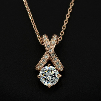 18K Gold plated X Element 2 Carat Cubic Zironia Pendant