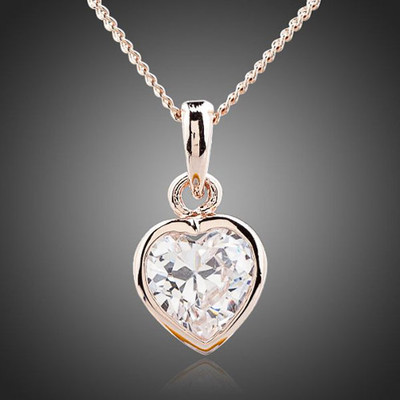 18K Gold Plated Clear Heart Pendant