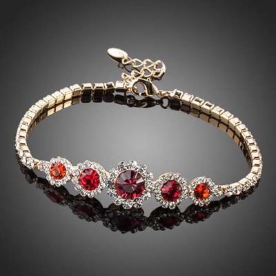 18K Gold Plated Ruby Red Bracelet