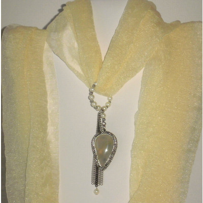Beige Gray Chalcedony Scarf Pendant + FREE Gift