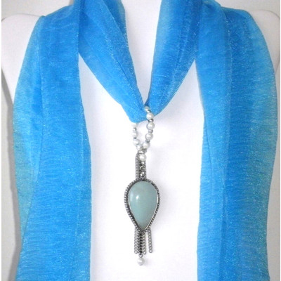Blue Green Chalcedony Scarf Pendant + FREE Gift
