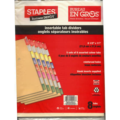 3 X Staples Insertable Tab Dividers - 8 Tabs (5 Sets)