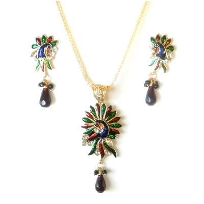 Peacock Pendant and Earrings set + FREE Gift