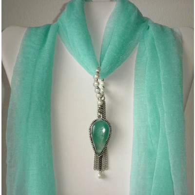 Sea Green Chalcedony Scarf Pendant + FREE Gift