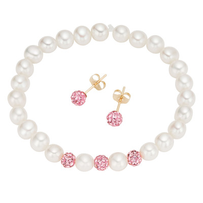 14k Gold Children's Freshwater Pearl and Pink Crystal Jewelry Set (4-5 mm)