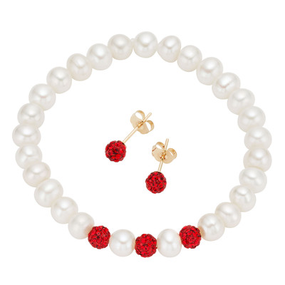 14k Gold Children's Freshwater Pearl and Red Crystal Jewelry Set (4-5 mm)