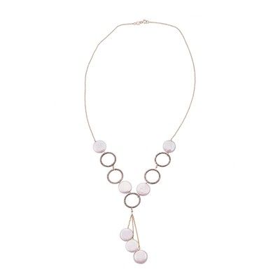 Sterling Silver Freshwater Pearl Link Design Necklace (13 mm)