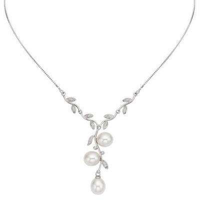 Sterling Silver White Freshwater Pearl and Cubic Zirconia Leaf Necklace (11-12 mm)