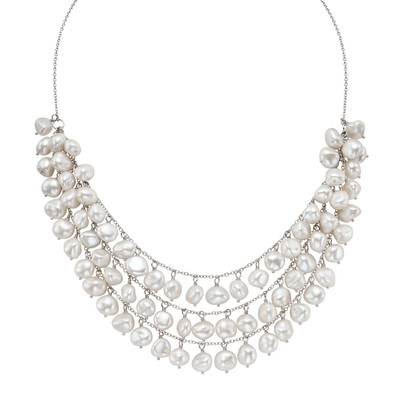 Pearlyta Sterling Silver White Freshwater Pearl Bib Necklace (9 mm)