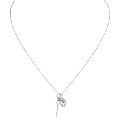 Silver White Freshwater Pearl, Arrow and Heart Charm Necklace (5-6 mm)