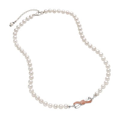 Sterling Silver Freshwater Pearl and Enamel Bow Necklace (7-8 mm)