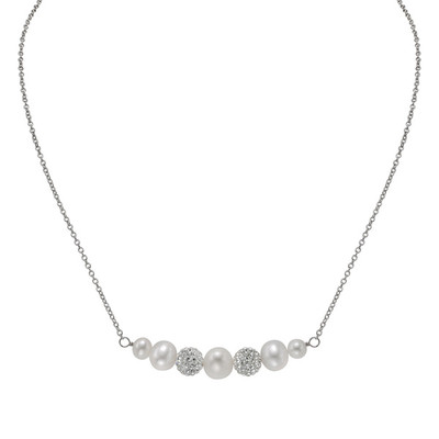 Silver White Freshwater Pearl and Crystal Ball Necklace (5-8 mm)