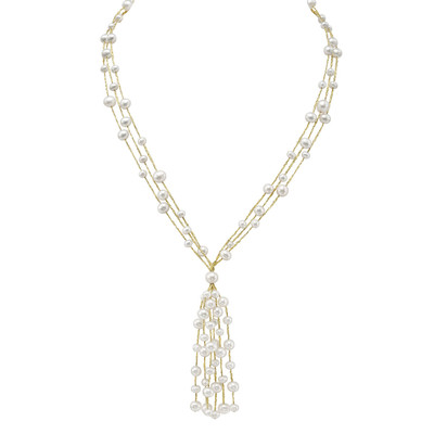 Sterling Silver White FW Pearl Tassel Necklace (5-7 mm)
