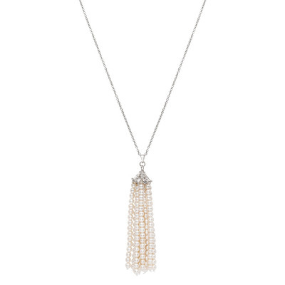 Sterling Silver White Freshwater Pearl Tassel Necklace (3-4 mm)