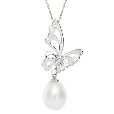 Sterling Silver White Freshwater Pearl Butterfly Necklace (7-8 mm)