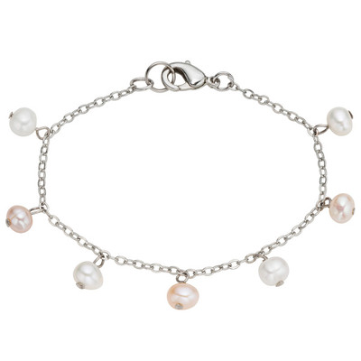Stainless Steel Freshwater Pearl Chain Anklet (4-5 mm)