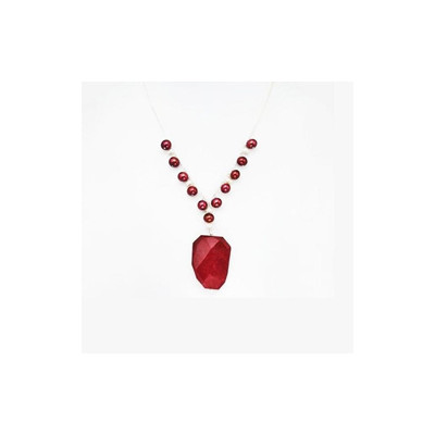 Sterling Silver Red Agate and FW Pearl Necklace (13-14 mm)