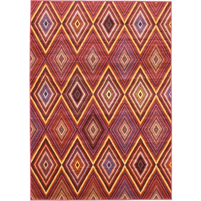"eCarpetGallery Machine made Chroma Diamond Red Rug - 5'5"" x 7'9"""
