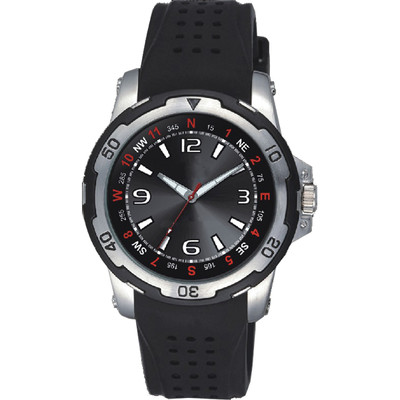 Matsuda Watch Big Face for Men, Silicon Flex Strap - Red and Black