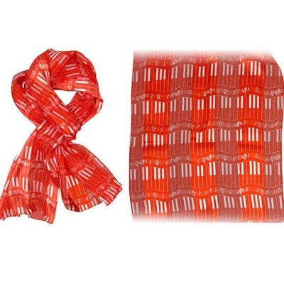 Scarf Aim Satin Stripe Kybd Red W/White Imprint - Aim - 21883B