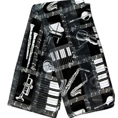 Scarf Aim Satin Stripe Instruments & Staff Black - Aim - 21892