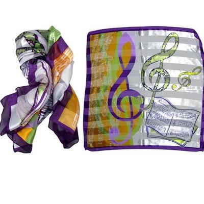 Scarf Aim Large Satin Music Staff White/Green/Orange/Purple - Aim - 21894