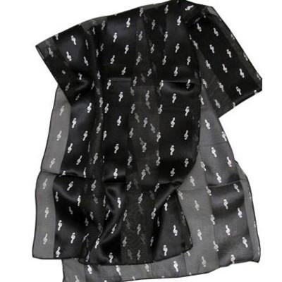 Scarf Aim Satin Stripe G-Clef & Notes Black - Aim - 56444