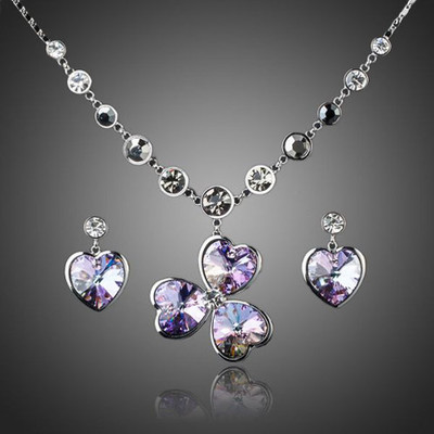 Platinum Plated Heart Flower Jewellery Set