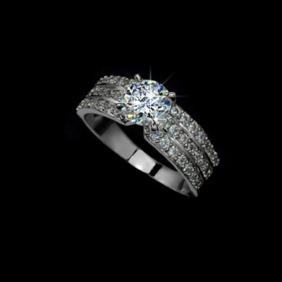 18K White Gold Plated 1.25 Carat 4 Prong Cubic Zirconia Wedding Band