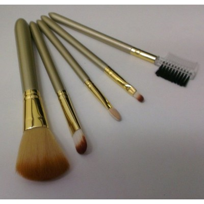 2 X Champagne Natural Cosmetic Professional Brush 5 pcs Set