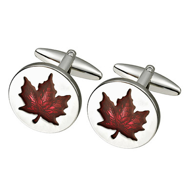 ROUND  MAPLE LEAF CUFFLINKS